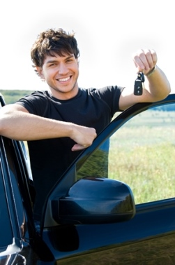 Young Man with First Car